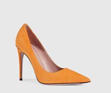 GUCCI 388435 Women Adina Suede Orange Pump 7545 Size 38 EU