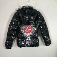 Ed Hardy Christian Audigier Down Jacket Women's M Black Quilted Puffer Coat NWT