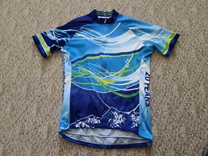 EUC Primal Women's Short Sleeve Cycling Jersey Size Medium 3/4 Zip Multicolored