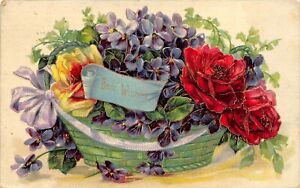 Antiq Gel Finish Colorful Basket of Flowers BEST WISHES - 1908 Embossed Postcard