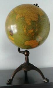 c 1926 Bacon Weber Costello Hammett Terrestrial 12 inch Globe Iron Tripod Stand