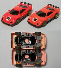 2 Ferrari #98  F-40 Slot Car BODY 6464 Promo Push Chassis NO TYCO Logo& OddPaint