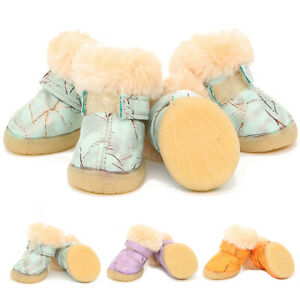 4pcs Cute Warm Fleece Dog Shoes Puppy Non Slip Snow Boots Booties for Small Dogs
