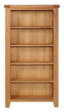 Tall Oak DVD CD Storage Rack | Wooden Shelving Tower 5 Tiers | Media Organiser