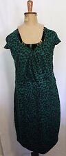 FOREVER 21+ ~ Rockabilly Emerald Green Leopard Print Deep V Neck Wiggle Dress 3x