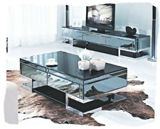 Lola 2 Piece Black Mirrored Entertainment and Coffee Table Combo - BRAND NEW