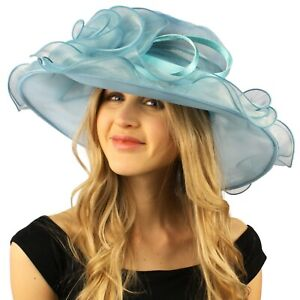 Darling Flower Satin Swirl Party Ruffle Derby Bucket Floppy Organza Hat