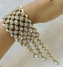 Indian Gold Tone Bracelet Bangle 18K Bridal Wedding Pearl Fashion Jewelry