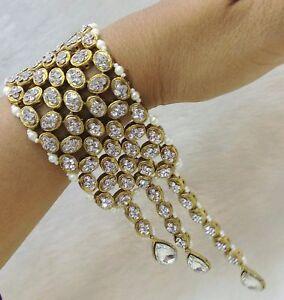 Indian Gold Tone Bracelet Bangle 18K Bridal Wedding Pearl Fashion Jewelry
