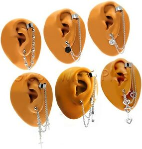 1 Ear Cuff Clip Stud Earring Piercing Dangling Extension Chain Surgical Steel