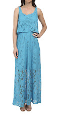 London Times Maxi Dress 10 Sleeveless Scoop Neck Pop Over Top Lace Blue NWT