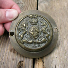 Old Brass British Royal Coat of Arms Keyhole Cover Escutcheon