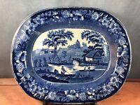 """Flow Blue Staffordshire Serving Platter 14"""" X 11.25"""" Boating Scene C1"""