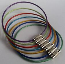 Stainless Steel Wire With Screw Locking Key Chain Coated Colorful Plastic 15cm