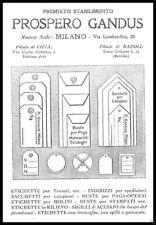 PUBBLICITA' 1921 STABILIMENTO PROSPERO GANDUS MILANO NAPOLI ETICHETTE MOLINI