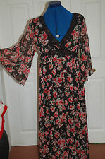 NEW 10 Black Red Rose Floral Full length maxi dress lace trim drape sleeves
