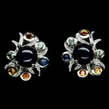 NATURAL 6 RAYS STAR BLUE & FANCY CLR SAPPHIRE STERLING 925 SILVER EARRINGS