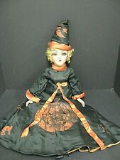 Vintage Halloween Boudoir Bed Doll Composition Antique Halloween Witch Bed Doll