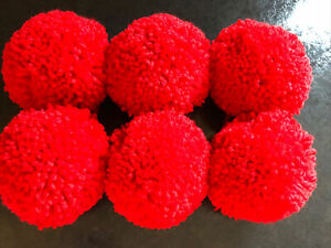 """Hand Made Woollen Pom Poms For Craft/ Decorations 6 X Red Size Approx 3"""""""