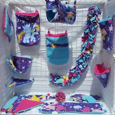 "Sugar Glider ""My Little Pony"" 14pc Purple Blue& Pink Fleece Cage Set + blankies"