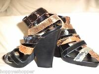 Penny Loves Kenny Animal Snake Print Heels Sandals Ankle Strappy Stacked 6.5 HOT
