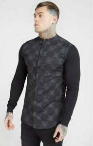 SikSilk Mens Muscle Fit Oxford Cotton Shirt - BLACK - Size S (UK)  *RRP £60* NEW