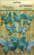 Glittered Fabric Butterflies Blue 5 of 35x40mm & 3 of 50x60mm Botanica Petaloo