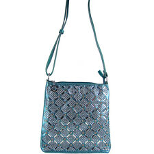 TURQUOISE RHINESTONE STUDDED LOOK MESSENGER BAG SATCHEL CROSS BODY WESTERN BLING