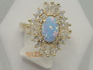 Ring Bomb Party gold plated Size 6 RBP3019 BLUE OPAL & WT Brand New w/tag & bag