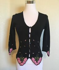 Betsey Johnson Rose Embroidered Silk Cardigan, Black/Pink/Green Size S