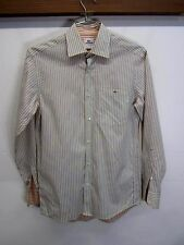 vtg Lacoste Casual Shirt button front blue striped 100% cotton sz 38