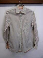 vtg Lacoste Casual Shirt button front blue striped 100% cotton sz 38