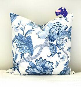 Hamptons Coastal Blue White Floral Cushion pillow cover Jacobean