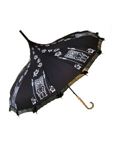 TIKI BLACK AND WHITE print Umbrella/Parasol pagoda shaped by Hilary's Vanity