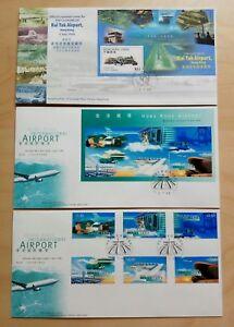 China Hong Kong 1998 Old Kai Tak & New Airport FDC (x3) 中国香港启德机场关闭+国际机场启用纪念封3个