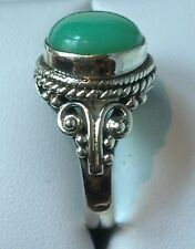 ARTISAN CRAFTED AUSTRALIAN CHRYSOPRASE 5.12 CT RING IN STERLING SILVER, SZ 7 & 8