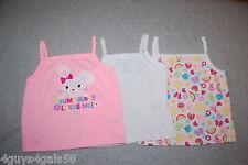 Toddler Girls TANK TOP 3 LOT Pink White SOME BUNNY LOVES ME Cupcake Flower 24 MO