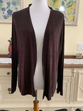 Citiknit Stretch Knit Brown Long Sleeve Slinky Travel Jacket Cardigan Large NWT