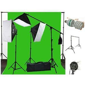 ePhoto 10 x 20 Muslin Chromakey Lighting Kit Stands Green Screen H604SB-1020G