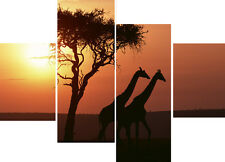 Giraffes Sunset Wild Animals Trees 4 Multi Panel Set Canvas Pictures Wall Prints