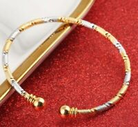 18k Yellow Gold And Silver Womens Two Tone Adjustable Bracelet Bangle D711B
