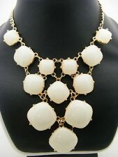 $24 Stephan & Company Ivory Cabochon 12-Stone Geometric Statement Necklace 19""