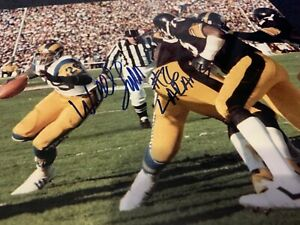Wendell Tyler Auto Signed  Rams Steelers Super Bowl XIV Rare 11x14 Photo Lamber
