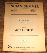 VINTAGE INDIAN SUMMER ENGLISH & FRENCH BY AL DUBIN & VICTOR HERBERT SHEET MUSIC