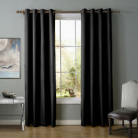 A pair Solid Window block Blinds Blockout curtain eyelet top black 160 220 240