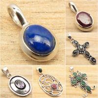 PENDANT Jewelry HEMINO 925 Silver Plated FLUORITE PILBARA JASPER /& Many Gem