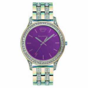 JUICY COUTURE JC1321IRGN BLACK Label Crystal Accented Pinkish Blueish Watch
