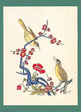 Dessin encre de chine & aquarelle Japon Hand made china ink signé Geneviève n8