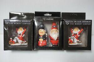 (3) Georgia Bulldogs Christmas Ornaments Gnome & Elf Sled by The Memory Company