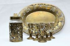 Vintage Mini Brass Glass Insert Cups With Tray Miniature